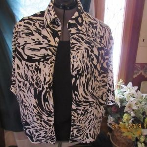 Tops - JB647.   Black and White 2 in 1 Blouse. Size 2X